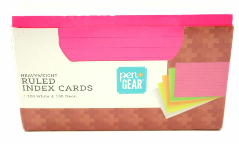 Ruled Index Cards Neon & White 200 Count