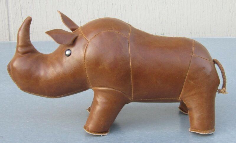 "LEATHER RHINOCEROS Stuffed Heavy FIGURE 11"" Rhino"