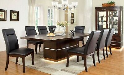 NEW 10PC BRONSON DARK CHERRY FINISH WOOD DINING TABLE SET w/ CURIO GLASS CABINET (Dining Room Set Curio Cabinet)