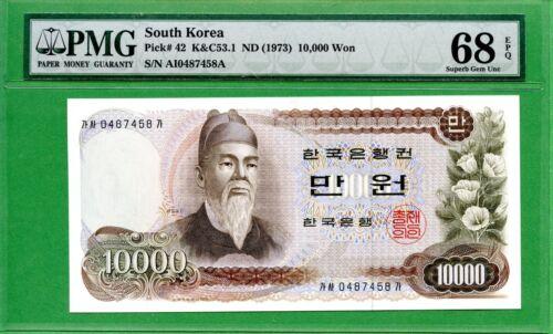 KOREA 1973  P 42   PMG  68 EPQ   10000 WON    HIGH GRADE