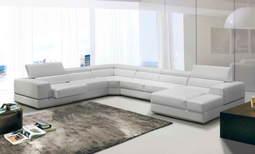 Modern Furniture Sectional White Bonded Leather Living Room Sofa Chaise Set Igv7
