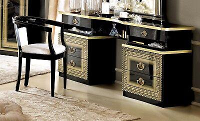 Italienische Schlafzimmer Dekor (Schminktisch Kommode Schwarz-Gold Hochglanz Greek Dekor Klassisch Italienisch)