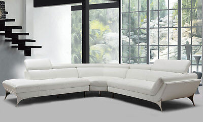 NEW Living Room Furniture White Italian Leather Sectional Sofa Chaise Set IGVR ()