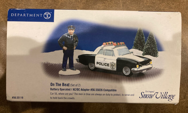 """Dept 56 - Snow Village - """"On the Beat"""" Police Car And Officer #55119 RETIRED"""