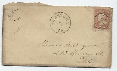 1860s Yorktown VA #65 cover to Philadelphia [H.1133]