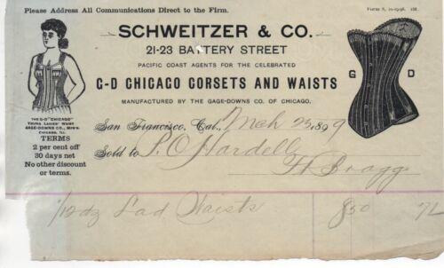 1899 San Francisco Billhead Schweitzer & Co Chicago Corsets and Waists