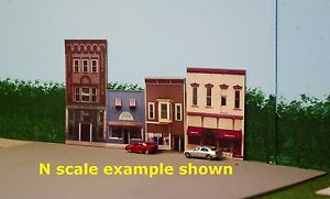 N scale VAN WERT photo background building flats