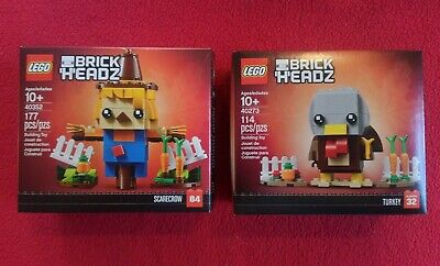 LEGO Seasonal Brick Headz #40352 Scarecrow (2019) & #40273 Turkey (2018)
