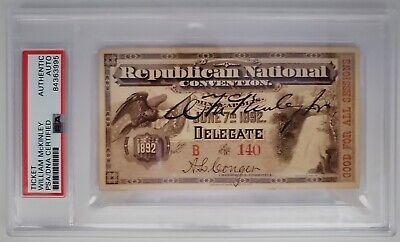 1892 Pre-Pres William McKinley Signed Ticket Republican National Convention PSA