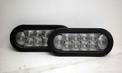 """2-LED 6"""" Oval WHITE Light Back up w/grommet 12v trailer"""