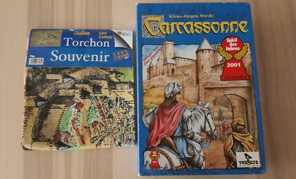 Carcassonne Board Game Gift Pack with Souvenir Teatowel