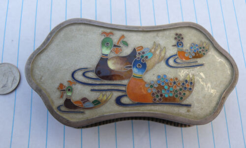 Antique Korean AG99 Sterling Silver Enamel Chinese Mandarin Ducks Box 156 grams
