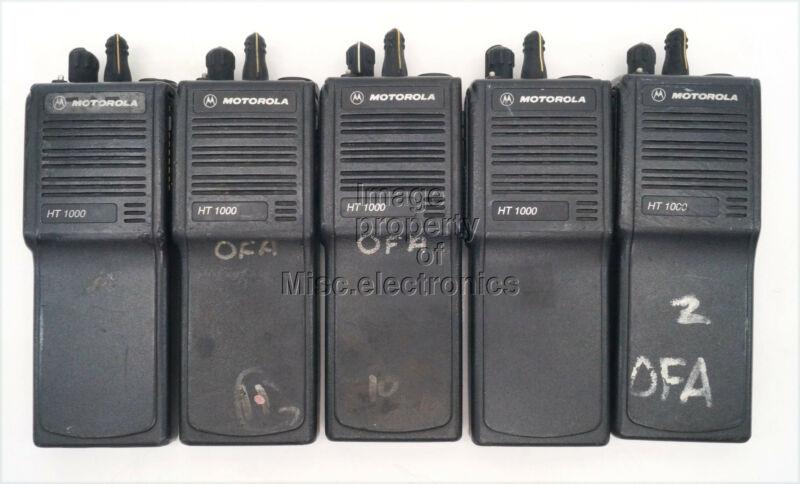 5 Motorola HT1000 Two Way Radios UHF 16 Channel Radio Only H01RDC9AA3DN Lot A