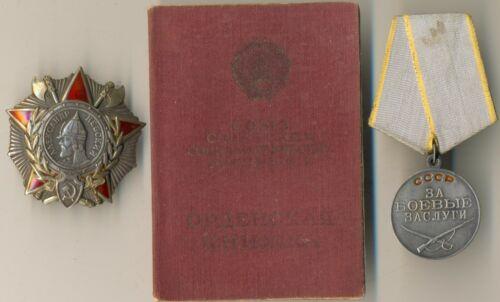 Soviet Red Medal Star Badge Banner Order of Nevsky Document and Medal (#1073)