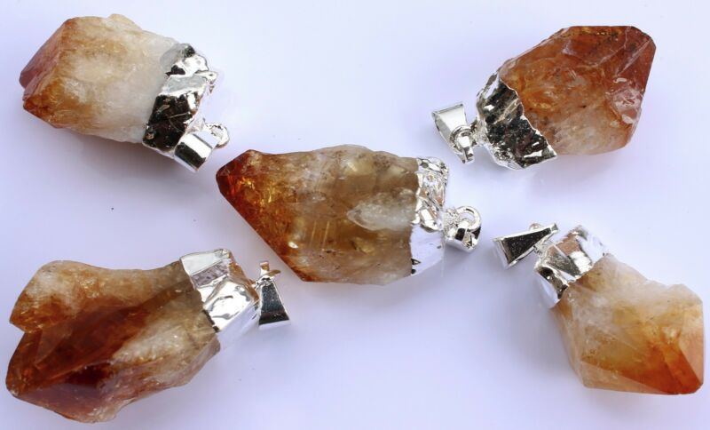 5 Silver Plated Natural Citrine Crystal Point Pendants Bulk Wholesale Lot 1