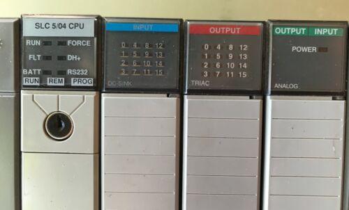 Allen Bradley PLC 4 Slot Rack 1746-A4 SLC5/04 PS Input, Output, Analog IO