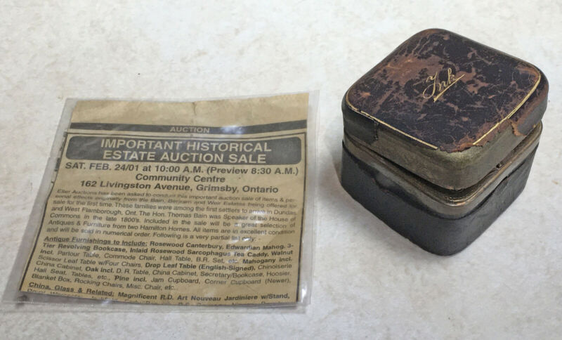 Antique Inkwell Estate Of Speaker Of The House Canada Hon. Thomas Bain 1899-1901