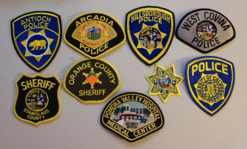 9 different California police & sheriff patches