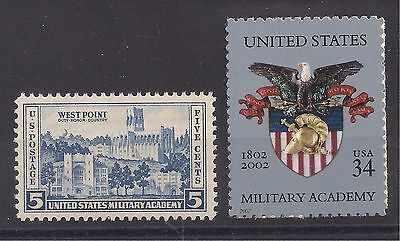WEST POINT MILITARY ACADEMY - SET OF 2 U.S. STAMPS 1936 & 2002 - MINT CONDITION