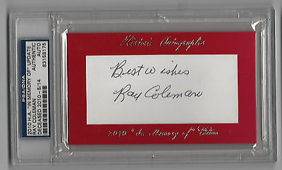 Coleman Memory - Ray Coleman 2010 Historic Autographs In Memory Of  Browns PSA/DNA Auto SP /14