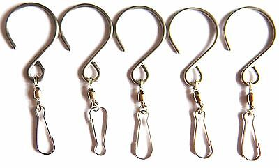5 Hanging Stainless Steel Swivel Hooks Clips For Garden Wind Spinner Sun Catcher