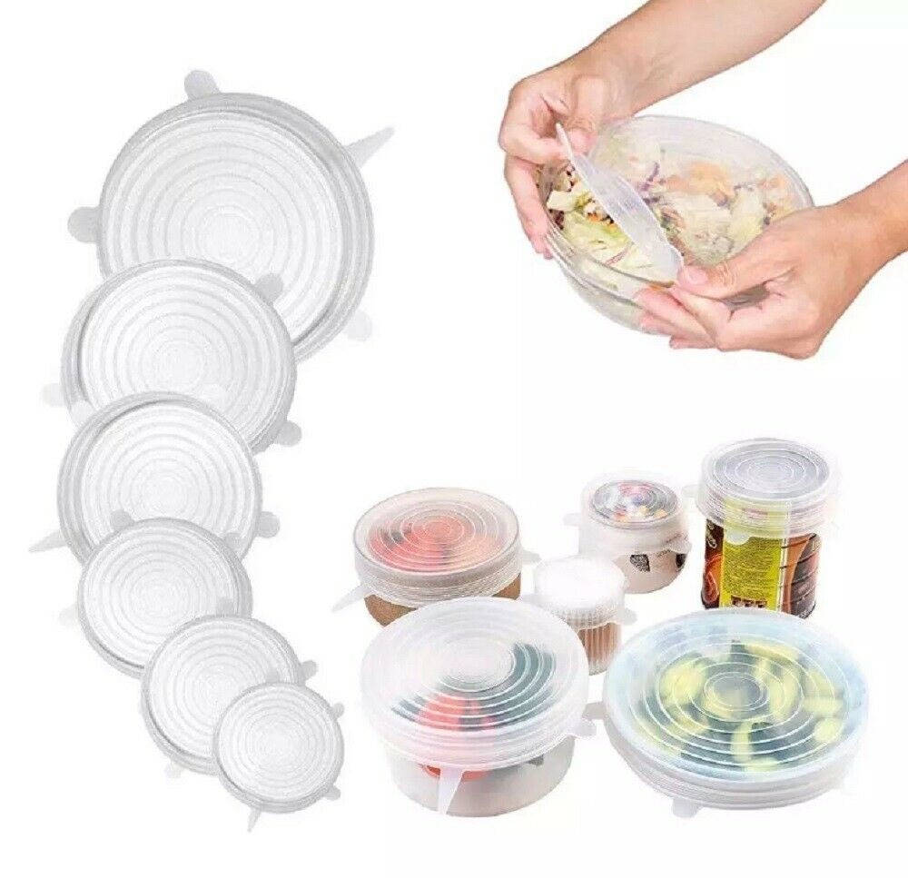 Reusable Silicone Wraps Bowl Seal Cover Stretch Lids Keep Food Fresh BPA Free US Cling Film, Foil & Food Wraps
