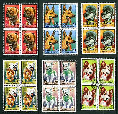 AJMAN 1971 DOGS / SPACE / RABBIT SET OF ALL 6 BLOCKS 4 COMMEMORATIVE STAMPS CTO