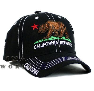California Republic hat CA Classic Bear Logo Embroidered Baseball cap- Black