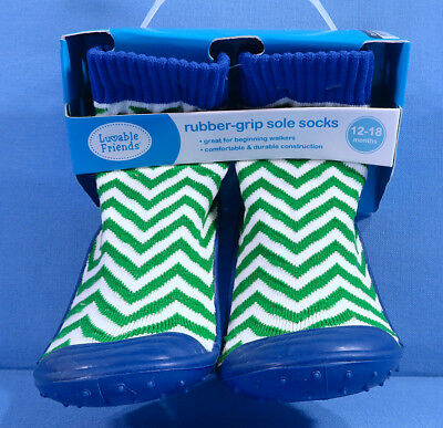 Luvable Friends Rubber-Grip Sole Socks 12-18 Months Green White Stripe Style New