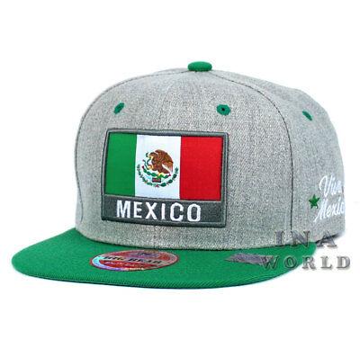 MEXICAN hat MEXICO Flag hat Snapback Flat bill Baseball cap- Heather Gray/Green