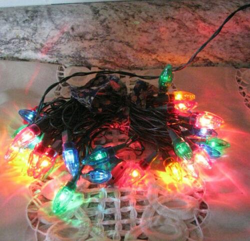 Vintage Multi-Colored Christmas String Lights Bullet Shape 35 Lights Old Fashion