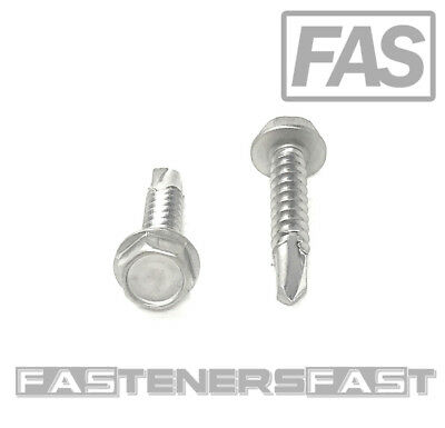 100 10 X 1 Stainless Steel Hex Washer Head Self Drilling Tapping Tek Screws