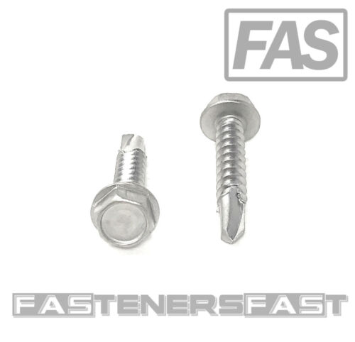 (100) 10 x 1 Stainless Steel Hex Washer Head Self Drilling Tapping TEK Screws