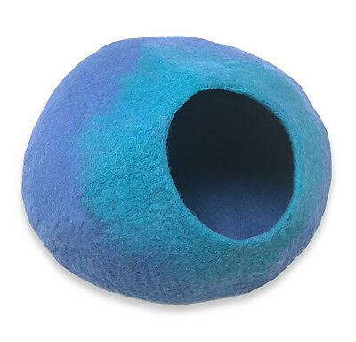 Walking Palm Cat Cave Bed - LARGE - Blue and Turquoise FREE SHIPPING from USA