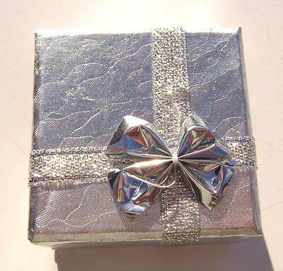 2200pk Gift Box Ring Studs Paper Silver With Ribbon Bow