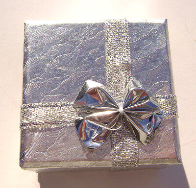 2200pk Gift Box Ring Studs Earrings Paper Silver With Ribbon Bow