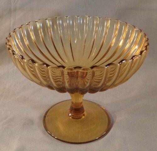 Vintage Amber Glass Compote Candy Dish Bowl Stemmed Pedestal