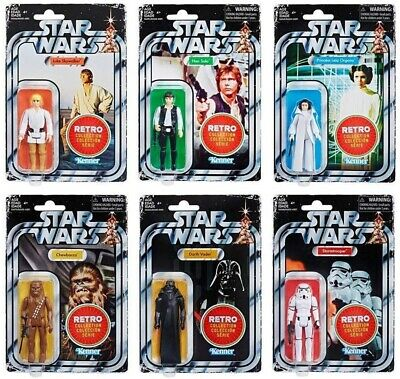 Star Wars The Retro Collection Action Figures Set of 6 (USA STOCK)