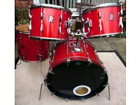Vintage 1980's Premier Drum Kit - Shell Pack - in vibrant pillar box red.