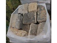 Blonde Sandstone Ready To Lay Walling Building.