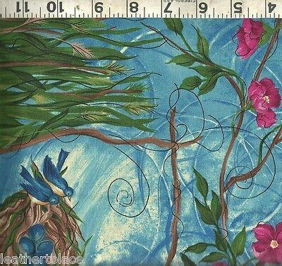 (Blue Bird Nest & Pink Floral Vine Border Print ~ 100% Cotton Quilt Fabric BTY)