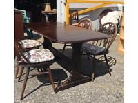 ** ERCOL ** REFECTORY DINING TABLE & CHAIRS **