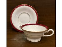 8 x Royal Worcester Medici Ruby Soup Cup & Saucer