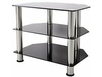 Black glass tv stand, small table and hallway table
