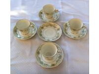 """9 Piece Vintage Noritake """"Green Hill"""" 2897 Cups and Saucers - Very dainty"""