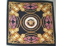 Wool scarf Versace black gold red for 4 seasons