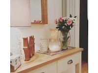 Somerset Oak and Cream Console Table with Drawers Solid Wood Side Table / Sideboard