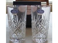 Royal Doulton Finest Crystal Boxed Highball Vases, made in France. Mint condition.