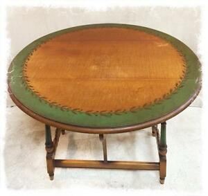 Lovely Antique Solid Wood Drop Leaf Table With Original Decorative Paint Detail and Drawer