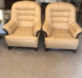 Italian leather hardwood 3 Seater & 2 Armchairs